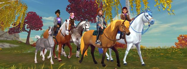 Ein Ausritt mit Pferden im Browsergame Star Stable